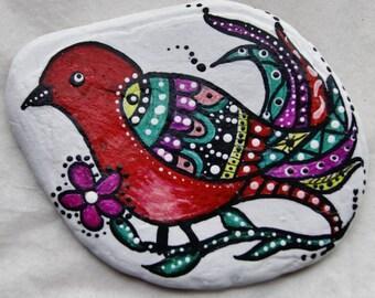 Painted Rock Art,Red Bird Zen,  Paper Weight, Desk Art, Great Lakes Beach Rock