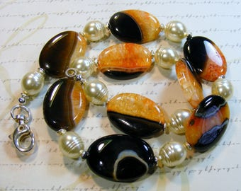 Orange and Black-agate and pearl necklace, 22 inches or 56 cm
