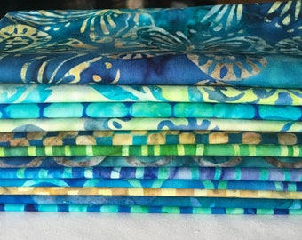 Batik Fat Quarter Bundle Midnight Sky Michael Miller Blue Teal Turquoise Green Quilting Sewing Boy piecesofpine