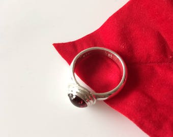 Garnet Ring, Deep Red Cabochon on Sterling