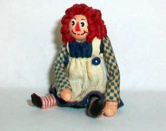 Miniature Raggedy Ann Doll 1:12 scale