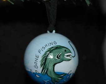 Gone Fishing Ornament - Hand Painted - Personalized - Solid Wood