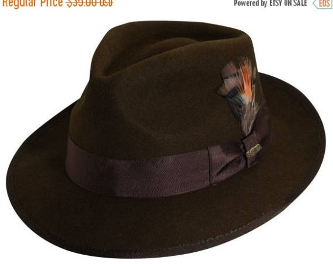 sale Brown Fedora Hat, Mens Hat, Brown Hat, Fedora, Wide Brim, Scully Fedora, Felt Fedora, SALE,