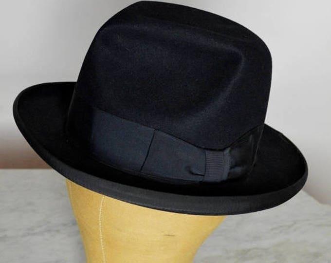 sale Royal Stetson Hat, Black Mens Homburg, Beaver Fur, 40s Men's Hats, 50s Men's Hats Hat, Millinery Hat, Godfather Hat Hat, Vintage Hombur