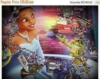 Summer SALE Princess and the Frog Inspired Charm Bracelet
