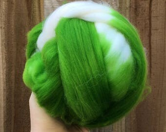 Spinning fiber - superwash merino nylon 3.53 ounces green lime chartreuse bright white natural roving top