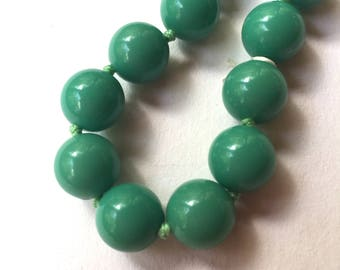 Vintage Blue Green Bead Necklace - Hand Knotted