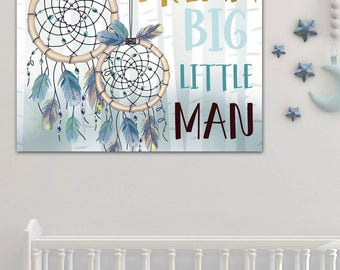 Personalized Blue Dream Catcher  Stretched Canvas Children's Bedroom Wall Art CS0093