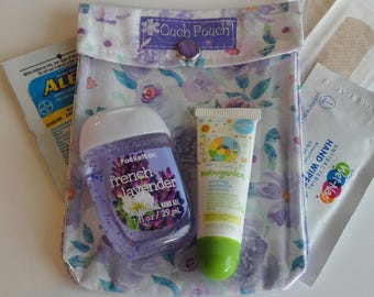 Lavender Roses Ouch Pouch Clear Front for First Aid Hand Sanitizer Cosmetics Diaper Bag Purse Insert Christmas Gift Under 10