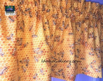 Bee Valance Golden Honeycomb And Honey Curtain 11 Or 14 X 42