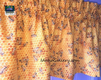 """Bee Valance Golden Honeycomb and Honey Bee Curtain 11"""" or 14"""" x 42"""" Bee Collectors Bee Lovers Kitchen Curtain Save the Bees Support the Bees"""