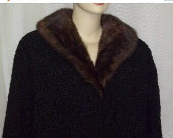 SUMMER SALE Vintage Persian Lamb Mink Fur Car Length Coat Jacket Large Womens Black Genuine