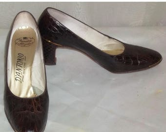 ON SALE Vintage D'Antonio Genuine Alligator Shoes Pumps 6 Aa High Heels