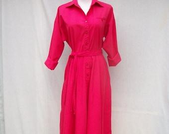 SALE 80s Hot Pink Shirtwaist Dress size Medium Large Full Skirt 50s Style