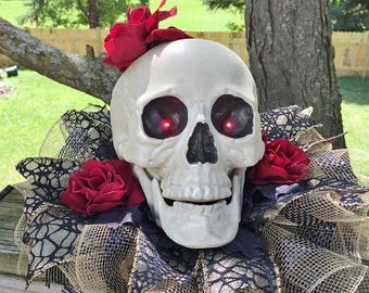 SALE- Skull Roses Glitter Leaves Lights Up - Fall Halloween Centerpiece