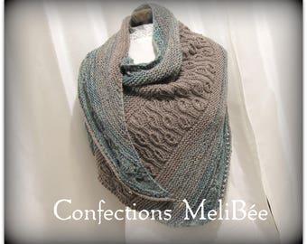 Knitted shawl/ Knitted scarf/ Handmade - Shawl (Foulard) tricoté à la main