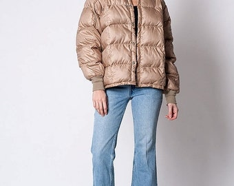 40% OFF The Vintage Tan Quilted Down Jacket