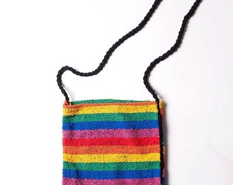 40% OFF The Vintage Rainbow Striped Fabric Crossbody Bag