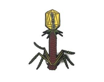 Bacteriophage Virus Pin - Soft Enamel Collector Art Pin - T4