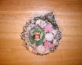 Victorian Christmas Angel Pin Brooch Pendant Ant Brass OX By C Erbsland OOAK Signed