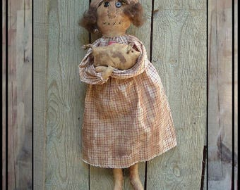SALE mailed paper pattern Primitive folk art rag doll with her pig HAFAIR OFG faap 448