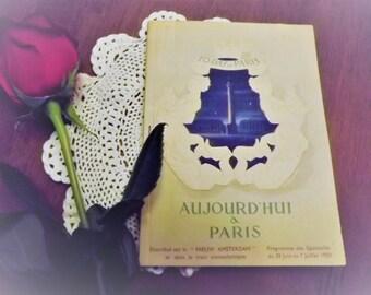 Today In Paris- Aujourd'hui a Paris Holland American Line 1950 Vintage book