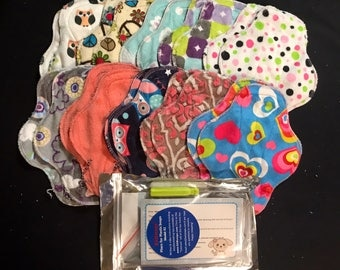 20-pack cloth pad making kit, light flow liners, handheld snap press and snaps included *Set A8*