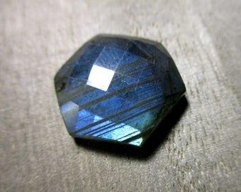SALE Labradorite faceted octagon shaped focal briolette