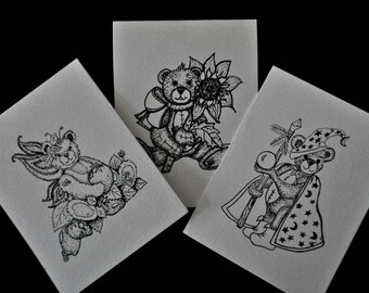 Coloring blank note cards of cute and whimsy teddy bears as wizard, fairy and holding a flower, printed on hand cut heavy watercolor paper