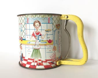 Vintage Tin Flour Sifter Mid Century Lithograph Housewife Children Homemade Pie