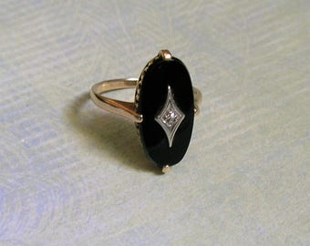 Vintage 10k Gold Black Onyx & Diamond Ring - 1930s BDA Size 7 Oval Shaped Statement Ring, Art Deco Ring (#3285)