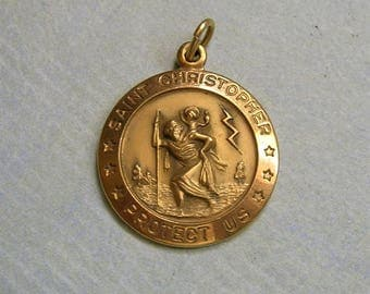 Vintage Gold Filled Saint Christopher Pendant, St. Christopher Medal, Theda Saint Christopher Religious Medal (#3288)