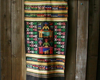 Beautiful Folk Art Hand Woven Tapestry  Bohemian Decor Boho Table Runner Musician Figure  Black Pink Green
