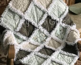Baby rag quilt, baby blanket, baby gift, baby boy gift, baby shower gift, new baby gift, baby bedding, crib quilt, Flannel, Shabby Chic