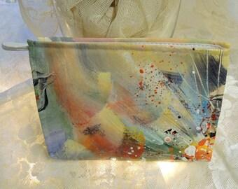 Hand Painted Clutch Bag, Vintage Brushstrokes Handbag,  Shoulder Strap, 1980's Clutch, Cross Body Bag, Zipper Closure, Bright Pastels