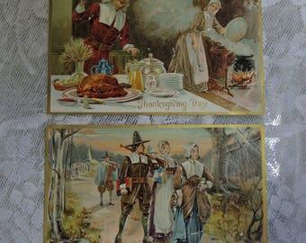 Two Vintage Pilgrim Thanksgiving Postcards - FREE Shipping