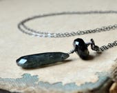 Wire wrapped Solomon cats eye  and onyx necklace, long sterling silver chain - Ghost Ship