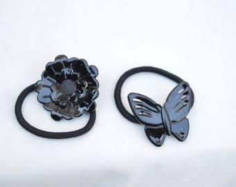 Vintage Hair Ties From France / Vintage Butterfly And Flower Pony Tail Holders / Vintage Elastic Hair Ties From France