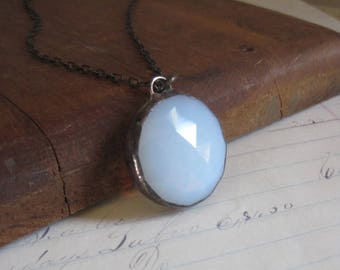 Moonstone Like White Opalescent Faceted Glass Necklace Simple Handmade Jewelry