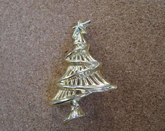 Vintage Gold tone Asymmetrical  Christmas tree pin brooch