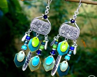 Precious Gipsy . Boucles d'oreilles uniques bohème précieux bleu vert argent 925 sequins émail design original Tikaille