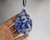 Teddy bear- Handpainted Delft  Porcelain Ornament/ wall hanging