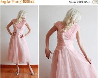 "SALE 1950s dress | pastel pink 50s dress | bombshell cupcake princess fairy dress | size s  bust 34-36"" waist 26"""