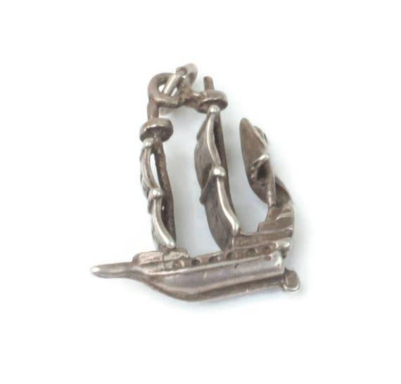 Sterling Galleon Sailing Ship Charm Vintage Charm for Bracelet