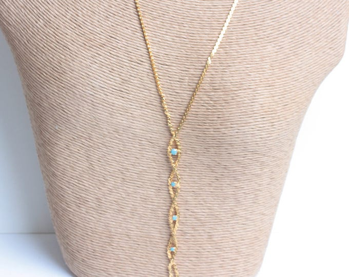 Braided Chain Tassel Necklace Turquoise Bead Gold Vintage