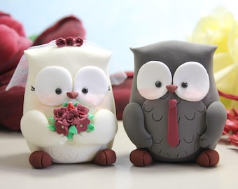 Owls wedding cake toppers - burgundy red dark wine bride groom figurines personalized elegant funny rustic country grey love birds