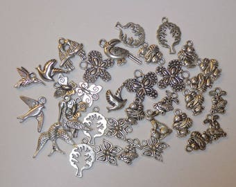 CLOSEOUT SALE Grab Bag of 36 Assorted Silver Charms, Craft Supplies, Wholesale Charms, Spiritcatdesigns