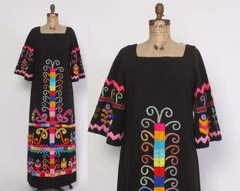 Vintage 60s MEXICAN DRESS / 1960s Boho Rainbow Embroidered Ethnic Maxi Dress
