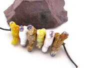 Splatters - Triangular Random Crusty Rustic Lampwork Spacers  Yellow, Pastel Seashell Pink & Olive Ocher set of 6