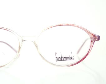 Vintage Pink Clear Round Reading Glasses 1980s Eyeglasses Vintage Eyewear Deadstock Brand New Oliver and Alexa 80s Readers